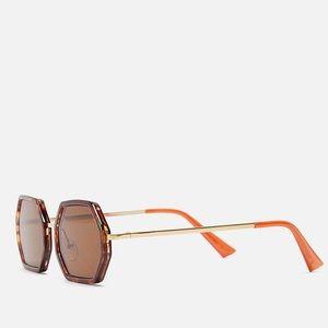 Zara woman hexagon shape sunglasses brown